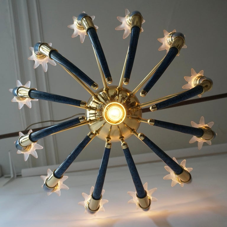Fabulous Italian Gilt Brass and Murano Glass Torch Chandelier by Banci Firenze For Sale 3