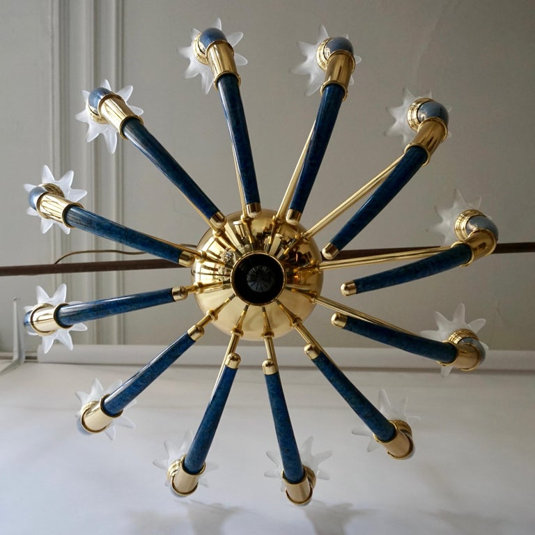 Fabulous Italian Gilt Brass and Murano Glass Torch Chandelier by Banci Firenze For Sale 4