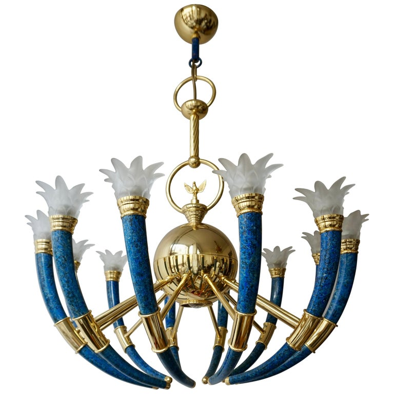 Fabulous Italian Gilt Brass and Murano Glass Torch Chandelier by Banci Firenze For Sale