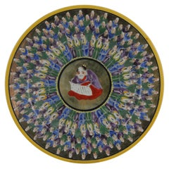 Fabulous Japanese Plate with the Well Know Thousand Faces Scene, The Meiji Era