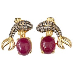 Fabulous Koi Fish and Oval Ruby Drop Vermeil Earrings