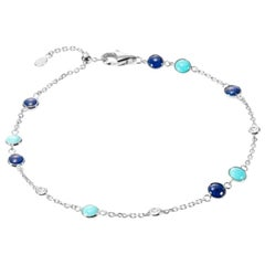 Fabulous Lapis Lazuli White Gold Lazyrit Diamond Charm Bracelet for Her