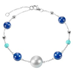 Fabulous Lapis Lazuli White Gold Lazyrit Mother of Pearls Charm Bracelet for Her