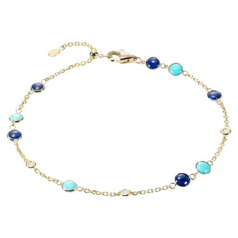 Fabulous Lapis Lazuli Yellow Gold Lazyrit Diamond Charm Bracelet for Her