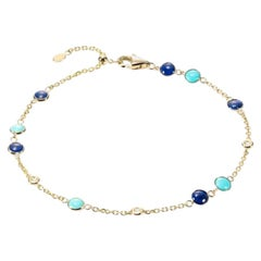 Fabulous Lapis Lazuli Yellow Gold Lazyrit Diamond Charm Bracelet for Her