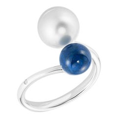Fabulous Lapis White Gold Lazyrit Mother of Pearls Ball Ring for Her