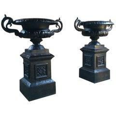Fabulous Large Antique Cast Iron Garden Urns Pair Planters Pedestals No.2