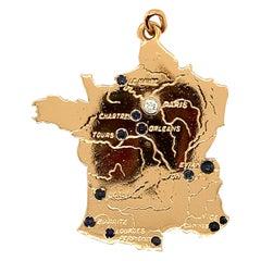 Fabulous Large Gold Gemset Map of France