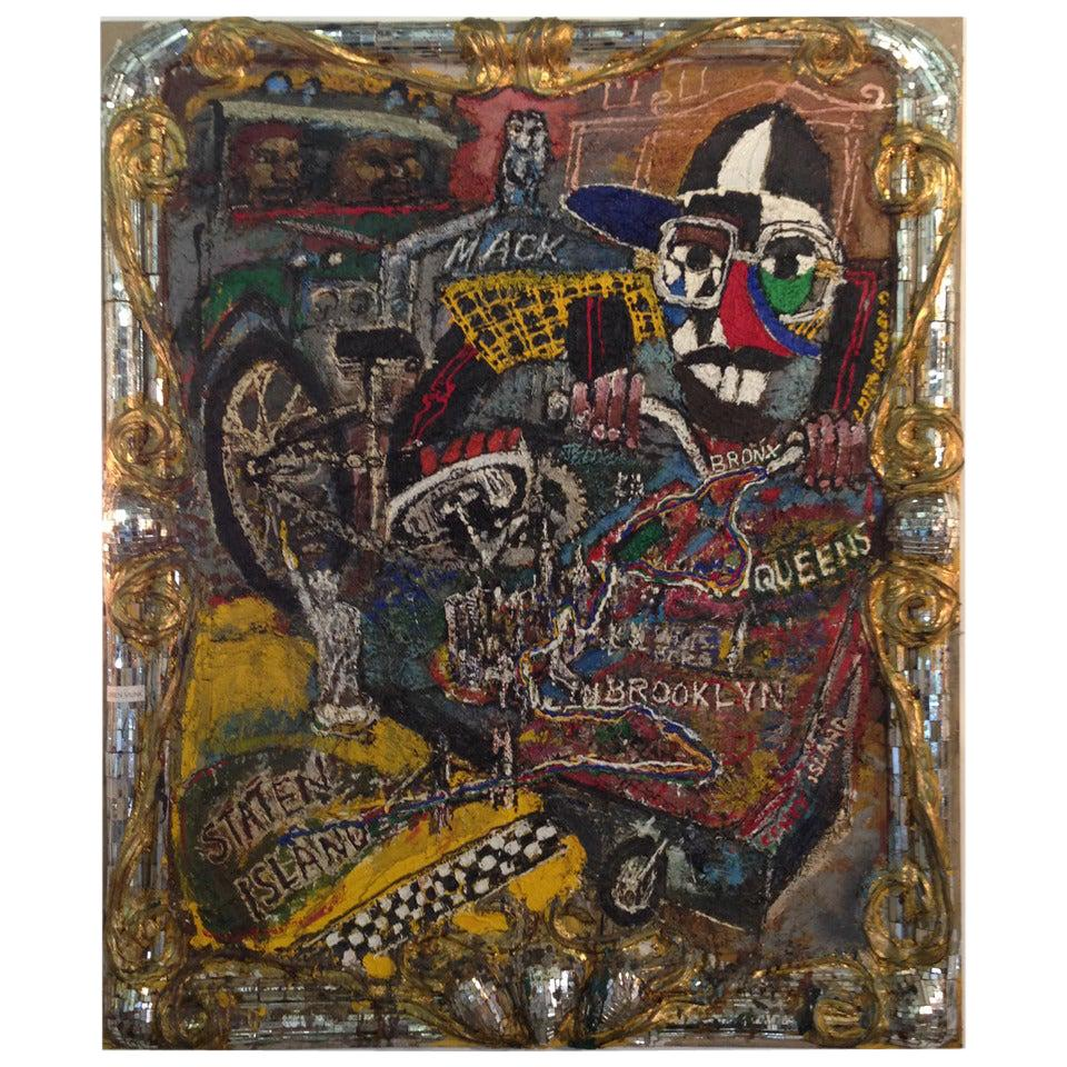 Fabulous Large Loren J. Munk Painting NYC Incased Mirrored Mosaic Framed Art