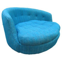Fabulous Large Round Circular Milo Baughman Swivel Lounge Chair Thayer Coggin