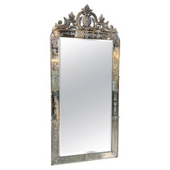 Fabulous Large Scale Antique Italian Etched Mirror