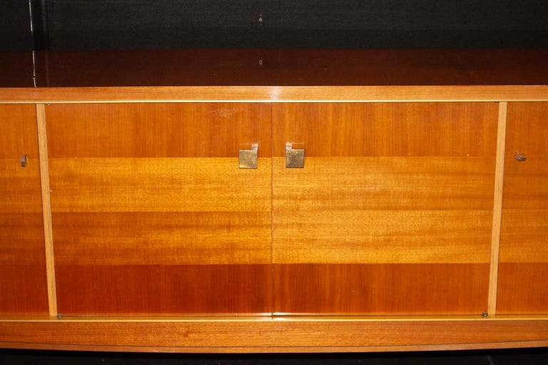Veneer Fabulous Large Sideboard Attributed to Roger Landault, France, Probably Ashtree For Sale