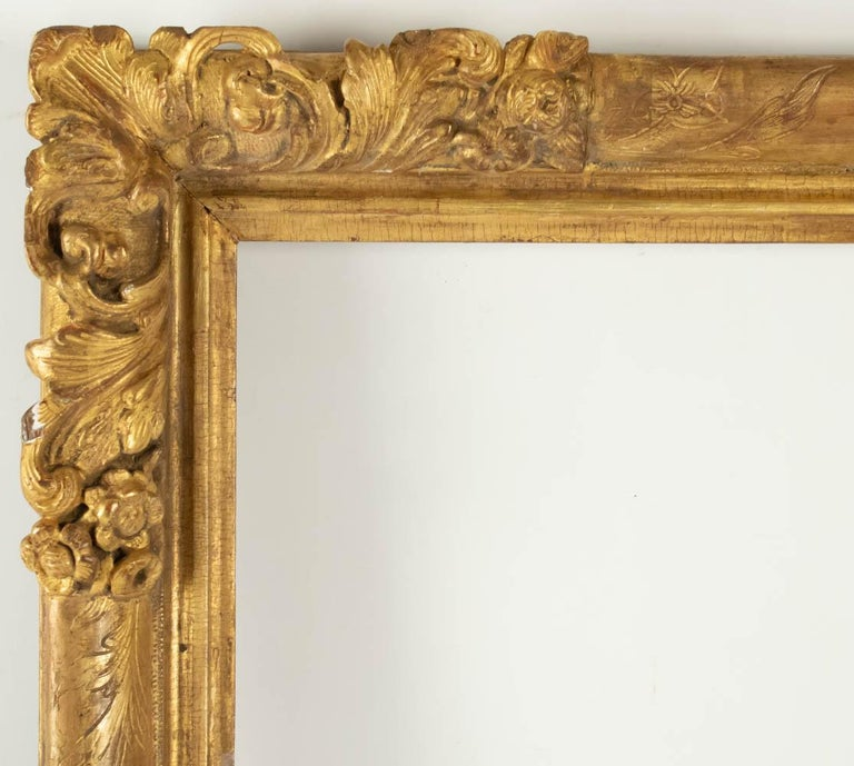 French Fabulous Louis XIV Period Frame, Mirror with Flower Corners, France 18th Century For Sale