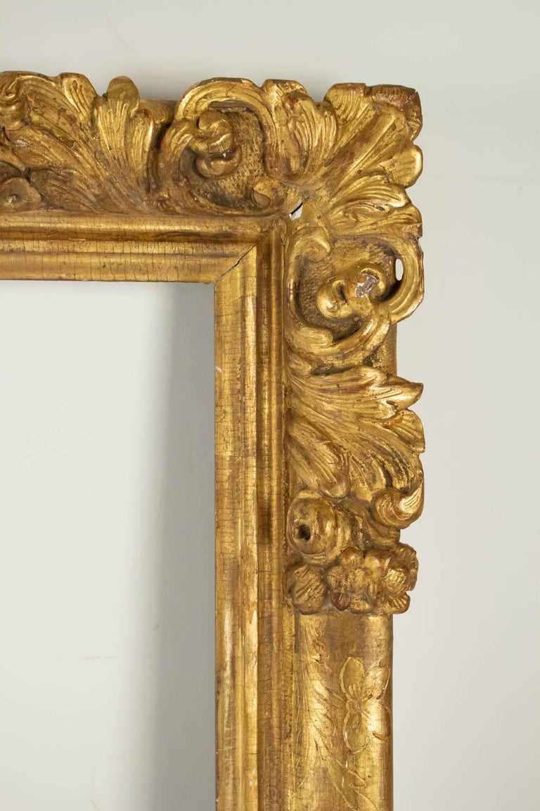 Fabulous Louis XIV Period Frame, Mirror with Flower Corners, France 18th Century In Excellent Condition For Sale In Saint-Ouen, FR