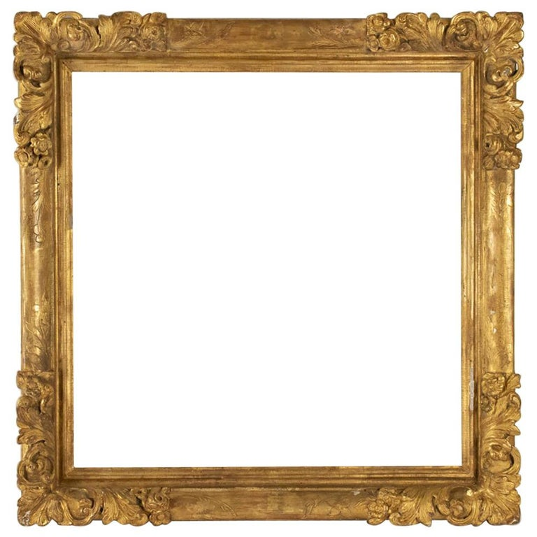 Fabulous Louis XIV Period Frame, Mirror with Flower Corners, France 18th Century For Sale