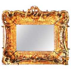 Fabulous Louis XV Period Frame, Mounted as Mirror, Rocaille Decors, France, 1750