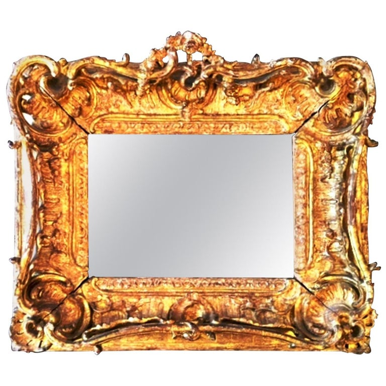 Fabulous Louis XV Period Frame, Mounted as Mirror, Rocaille Decors, France, 1750 For Sale