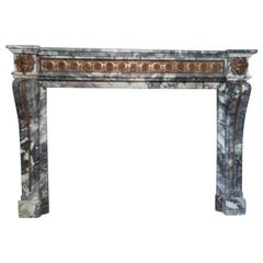 Fabulous Louis XVI Style Breccia Marble & Bronze Fireplace Mantel 20th Century