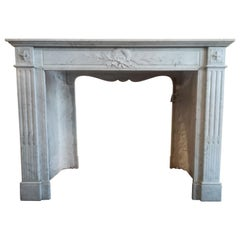Fabulous Louis XVI Style Carrara Marble Fireplace Mantel, 19th Century