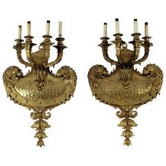 Fabulous, Massive Pair of Louis XIV Style Doré Bronze Sconces with Lions