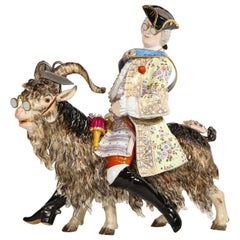 "Fabulous Meissen Porcelain Group of Count Bruhl's ""Tailor on a Goat"""