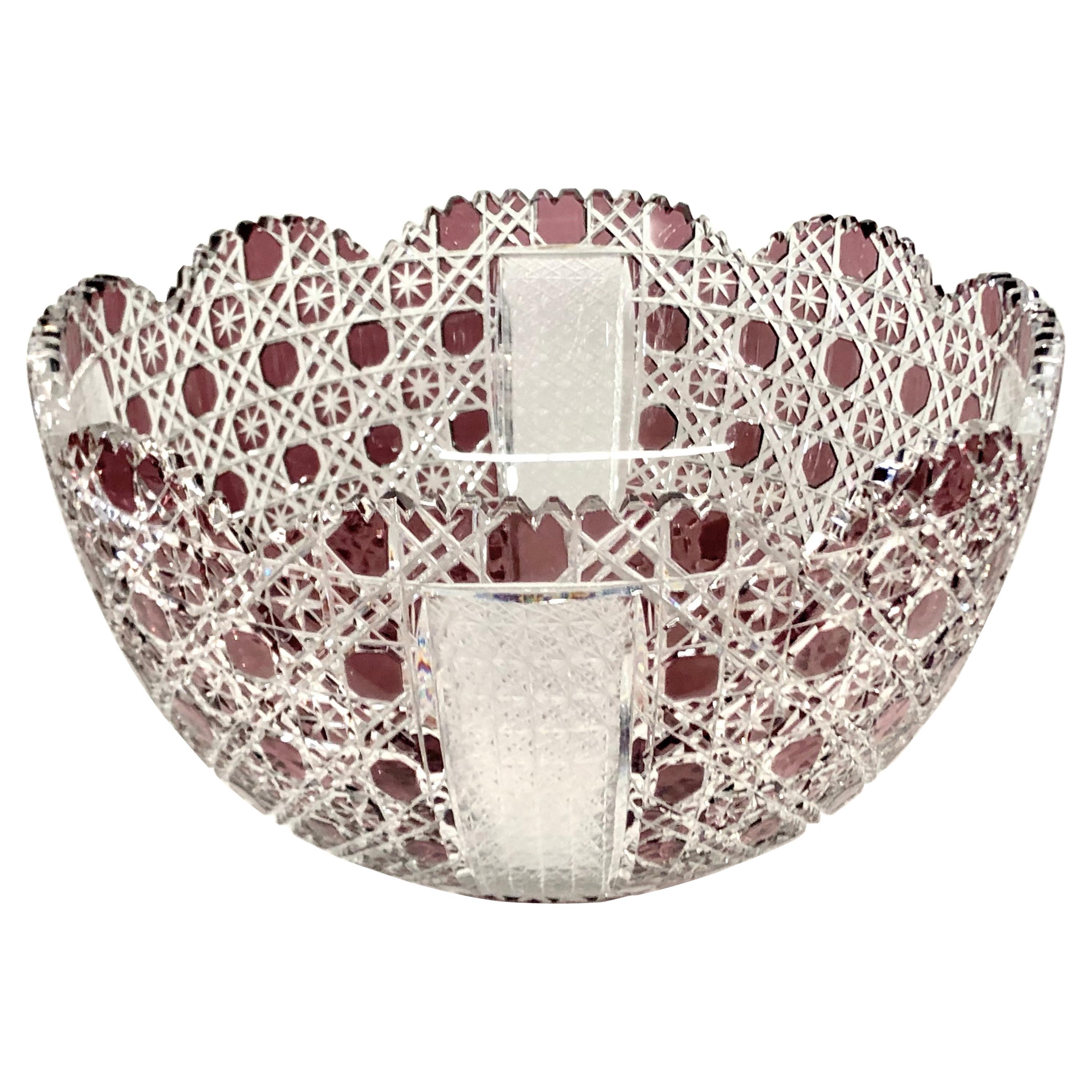 Fabulous Mid-Century Bohemian Amethyst/Cranberry Overlay Cut Crystal Punch Bowl