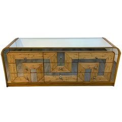 Fabulous Midcentury Mirror Inlaid Segmented Bamboo Dresser or Credenza