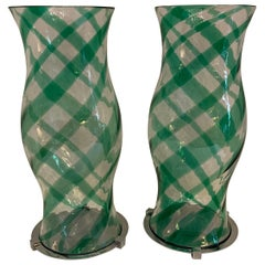 Fabulous Modern Pair Lorin Marsh Green Blown Glass Hurricane Shades Nickel Bases