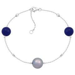 Fabulous Mother of Pearls Lapis Lazuli White Gold Diamond Charm Bracelet for Her