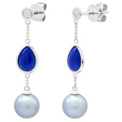 Fabulous Mother of Pearls Lapis Lazuli White Gold Diamond Earrings for Her
