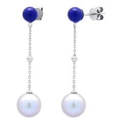 Fabulous Mother of Pearls Lapis Lazuli White Gold Stud Dangle Earrings for Her