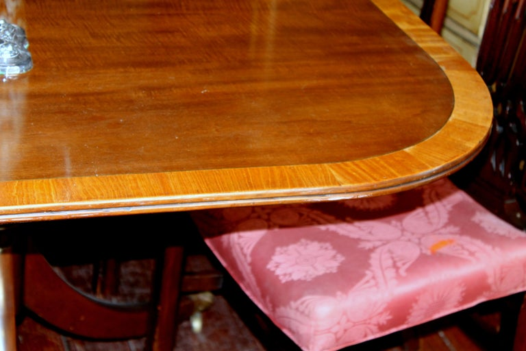 Hand-Crafted Fabulous Old English Early 20th C. Figured Mahogany Dining Table w/ Walnut Inlay For Sale