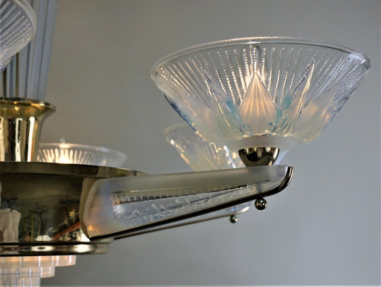 French Fabulous Opaline Glass Art Deco Chandeliers by Atelier Petitot For Sale