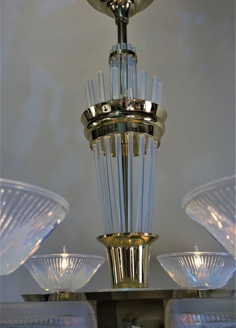 Fabulous Opaline Glass Art Deco Chandeliers by Atelier Petitot In Good Condition For Sale In Fairfax, VA