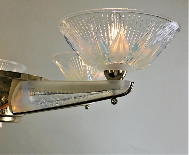 Fabulous Opaline Glass Art Deco Chandeliers by Atelier Petitot For Sale 2