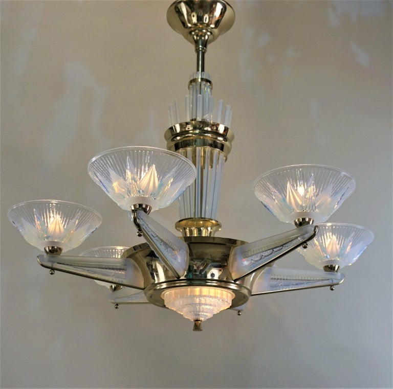 Fabulous Opaline Glass Art Deco Chandeliers by Atelier Petitot For Sale 3