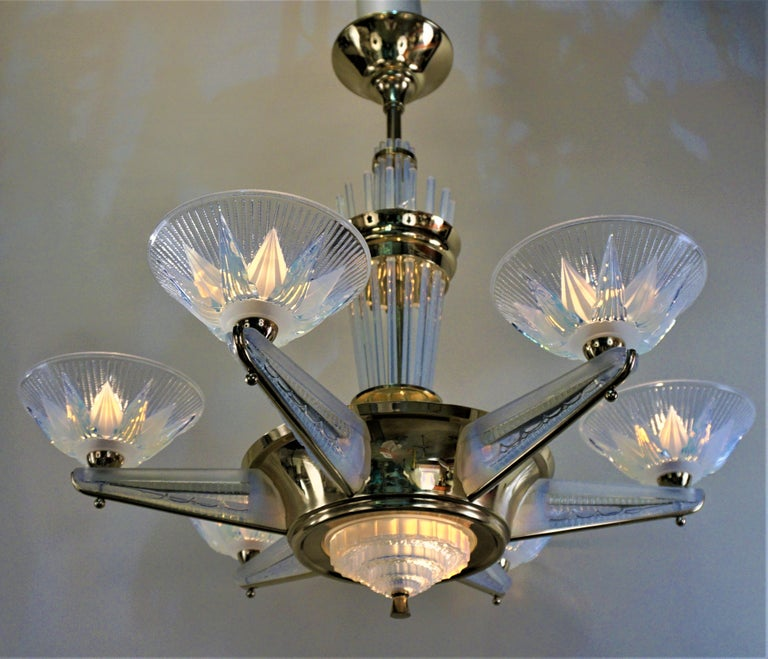 Fabulous Opaline Glass Art Deco Chandeliers by Atelier Petitot For Sale 4