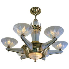 Fabulous Opaline Glass Art Deco Chandeliers by Atelier Petitot
