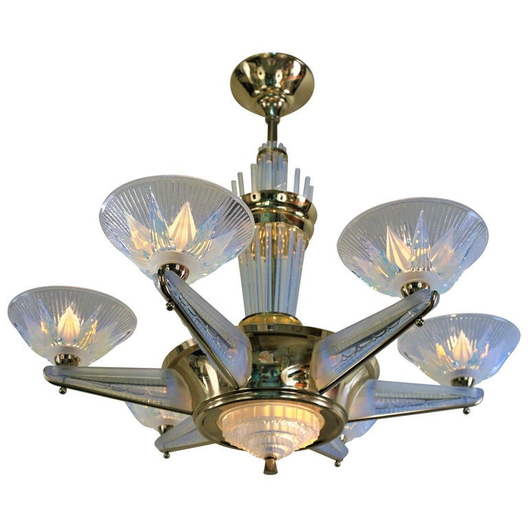 Fabulous Opaline Glass Art Deco Chandeliers by Atelier Petitot For Sale