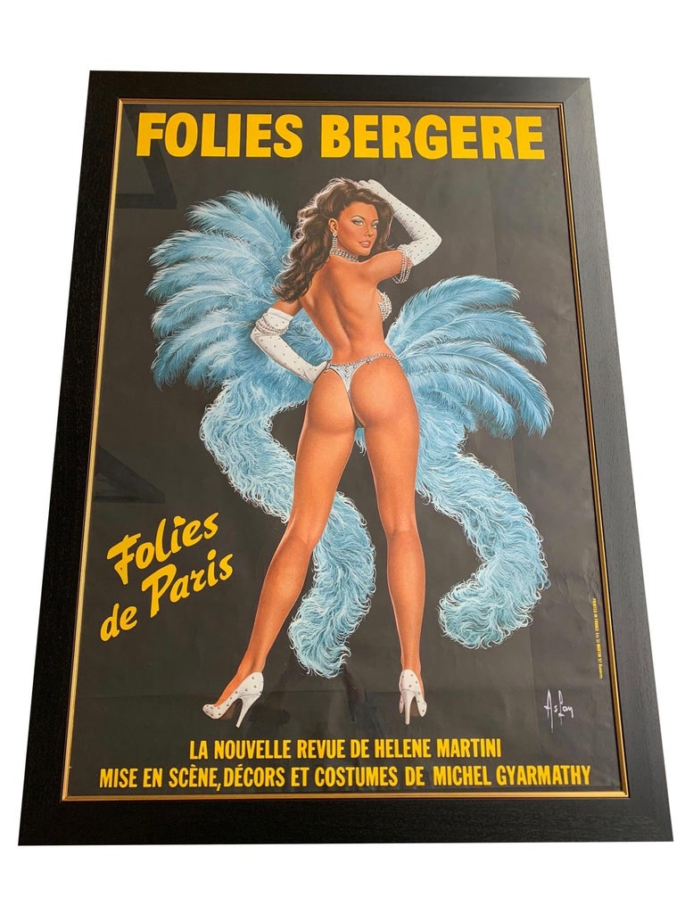 A fabulous original 1960s large Folies Bergere poster by artist Alain Gourdon Aka AsLan. It depicts a semi clad, sequinned showgirl with baby blue boa and feathers. Signed in the print
