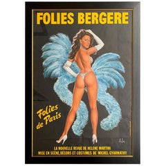 Fabulous Original 1960s Large Folies Bergere Poster by Artist Alain Gourdon