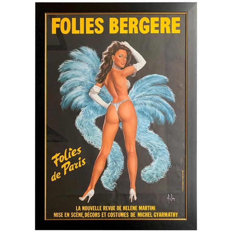 Fabulous Original 1960s Large Folies Bergere Poster by Artist Alain Gourdon For Sale