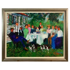 Fabulous Original Painting of Family Gathering by Ted Jaslow