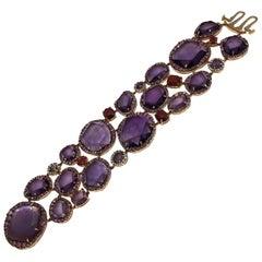 Fabulous Overscaled Rose Cut Multi-Gem 18 Karat Rose Gold Bracelet