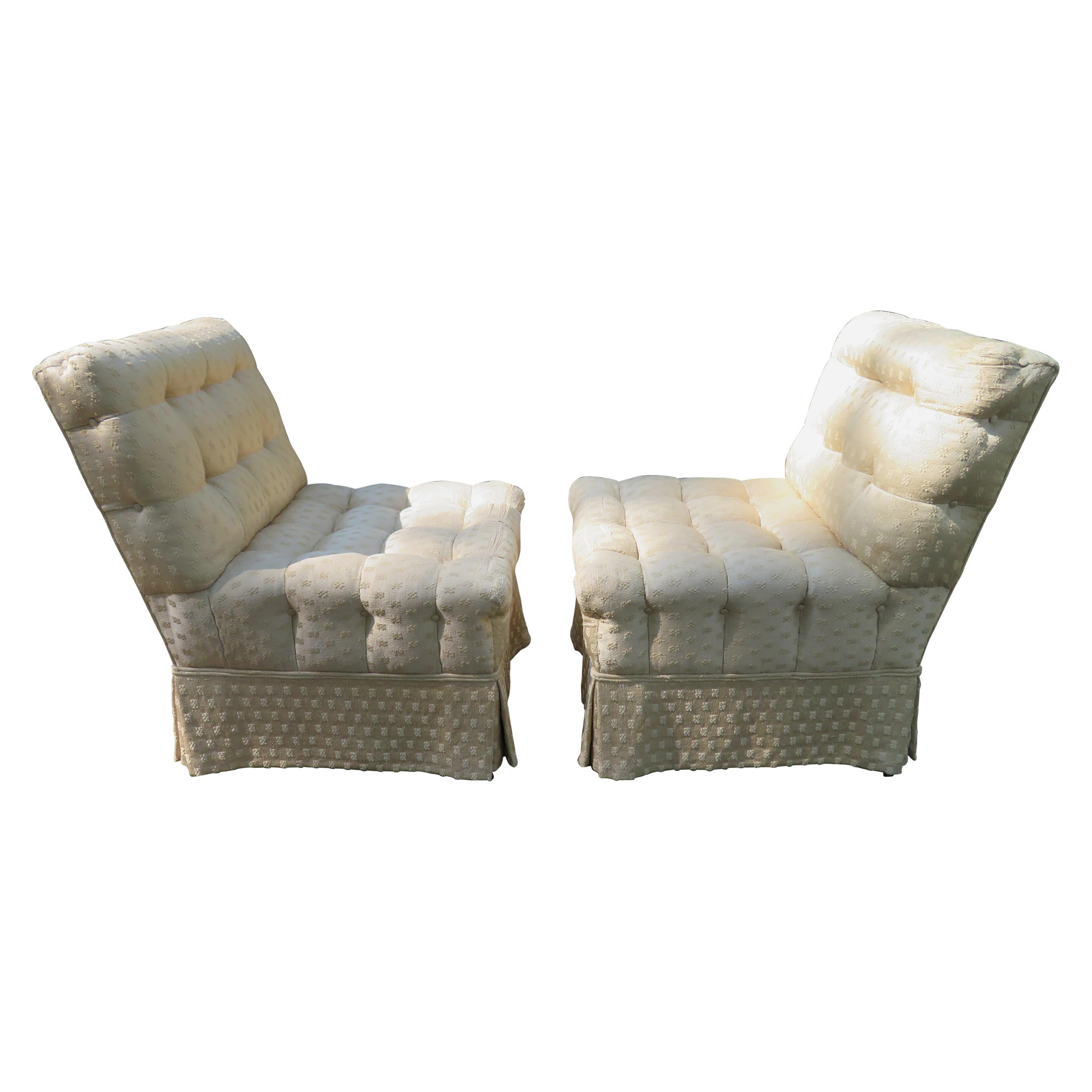 Fabulous Pair Billy Haines Style Biscuit Tufted Slipper Chairs Hollywood Regency