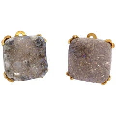 Fabulous Pair of 20mm Druzy Quartz Clip on Earrings