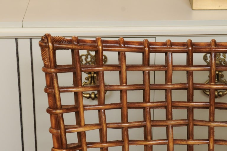 Fabulous Pair of Caramel Rattan and Cane Club Chairs by McGuire, circa 1980 For Sale 4
