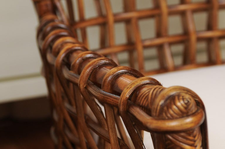 Fabulous Pair of Caramel Rattan and Cane Club Chairs by McGuire, circa 1980 For Sale 5