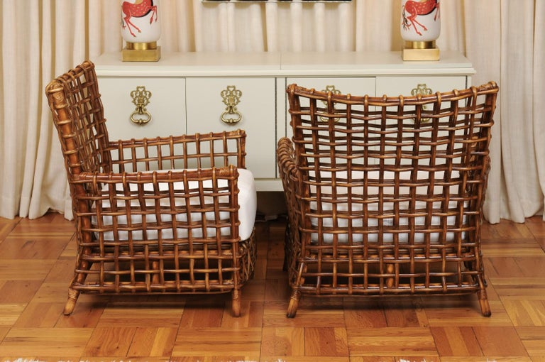 Fabulous Pair of Caramel Rattan and Cane Club Chairs by McGuire, circa 1980 For Sale 6