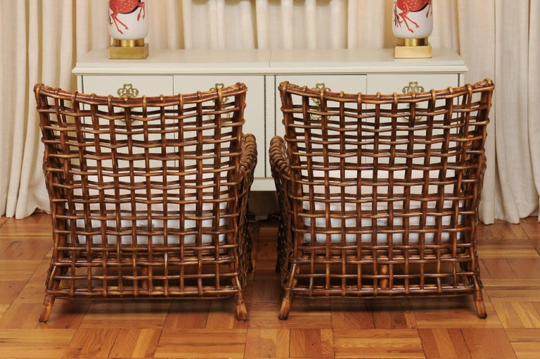Fabulous Pair of Caramel Rattan and Cane Club Chairs by McGuire, circa 1980 For Sale 7
